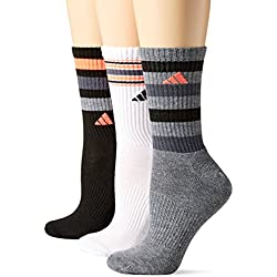 adidas Women's Cushioned 3-Pack Crew Socks, Black/White/Heather Grey/Onix/Lucid Red, Medium