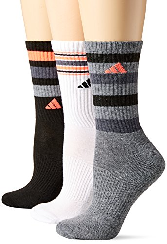 adidas Women's Cushioned 3-Pack Crew Socks, Black/White/Heather Grey/Onix/Lucid Red, Medium