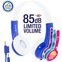 Kids Headphones by onanoff | Explore Series I Volume Limiting | Durable, Comfortable & Customizable | Built in Headphone Splitter & In Line Mic | Great for School| For iPad, Fire, & All Tablets | Blue