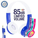 Kids Headphones by onanoff | Explore Series I Volume Limiting | Durable, Comfortable & Customizable | Built in Headphone Splitter & In Line Mic | Great for School| For iPad, Fire, All Tablets | Blue