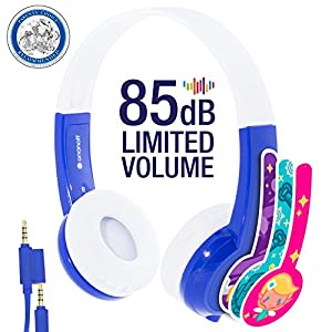 ONANOFF BuddyPhones Discover | Kids Headphones | Non-Foldable, Durable, Comfortable | Kids Safe Volume Limiting | Built in Audio Splitter | Blue
