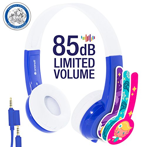 Explore Volume Limiting Kids Headphones - Durable, Comfortable & Customizable - Built in Headphone Splitter and In Line Mic - For iPad, Kindle, Computers and Tablets - Blue
