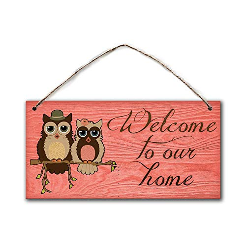 BESTWD Welcome to Our Home Sign, Rustic Decor, Owls and Distressed Wood, 5