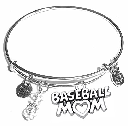 Message Charm (46 words to choose from) Expandable Wire Bangle Bracelet, in the popular style, COMES IN A GIFT BOX! (Baseball - Charm Bracelet Baseball