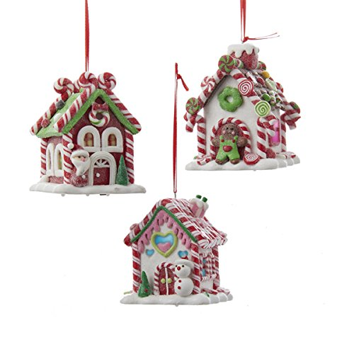 Victorian Christmas Tree Decorations - B/O Gingerbread LED Candy House - Set of 3 - D2462