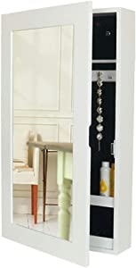 COLiJOL Furniture Cabinet Jewelry Wall-Mounted Jewelry Storage Bag Mirror Earrings Storage Box Thickening Jewelry Box Space-Saving Jewelry Storage Organizer Mirror Jewellery Cabinet,White