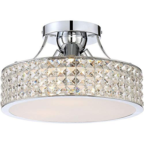 Quoizel PCAX1714C Alexa Crystal Semi-Flush Mount Ceiling Lighting, 3-Light, 300 Watts, Polished Chrome (9