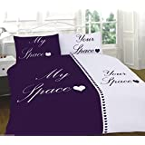 Duvet cover set with pillowcases polycotton keep calm/My space your space bedding (Space Plum/White, King Duvet Cover Set) by Ritzy Home Textiles