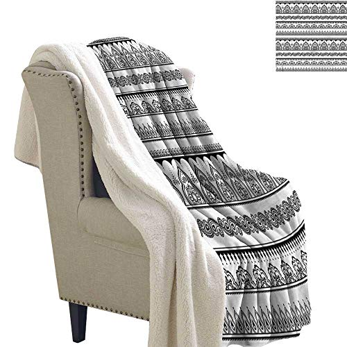 AndyTours Baby Blanket Henna Eastern Tattoo Design Washable Shaggy Fleece Blanket W59 x L47 ()