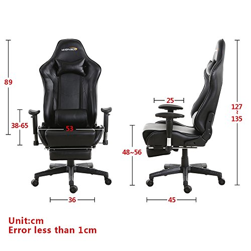 WENSIX Gaming Chair High Back Computer Chair With Adjusting Footrest, Ergonomic designs Extremely Durable PU Leather Steel Frame Racing Chair (Black) by WENSIX (Image #2)