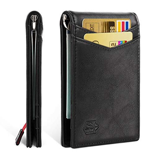 Zitahli Minimalist Slim Bifold Front Pocket Wallet with Money Clip for men,Effective RFID Blocking& Smart Design, A-jet Black, Small