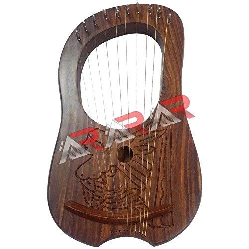 AAR Lyre Harp Rosewood 10 METAL STRINGS Thistle Design/Lyra Harp/ENGRAVED HARP With Carrying Case & Tuning Key Free by AAR