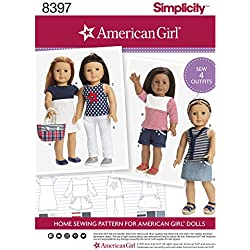 "SIMPLICITY 8397 18"" DOLL CLOTHESAMERICAN GIRL SEWING PATTERN"