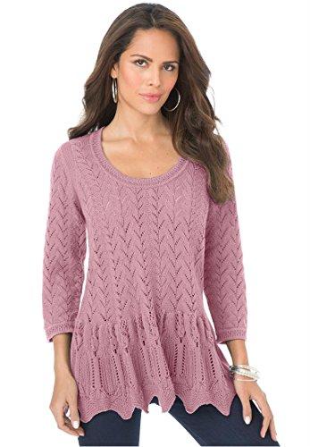 Roamans Womens Plus Size Sonia Peplum Sweater Dusty PinkM