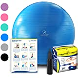 Exercise Ball - Professional Grade Anti-Burst Fitness, Balance Ball for Pilates, Yoga, Birthing, Stability Gym Workout Training and Physical Therapy