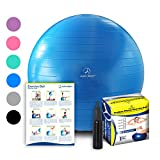 Exercise Ball – Professional Grade Anti-Burst Fitness, Balance Ball for Pilates, Yoga, Birthing, Stability Gym Workout Training and Physical Therapy (Blue, 55cm) For Sale