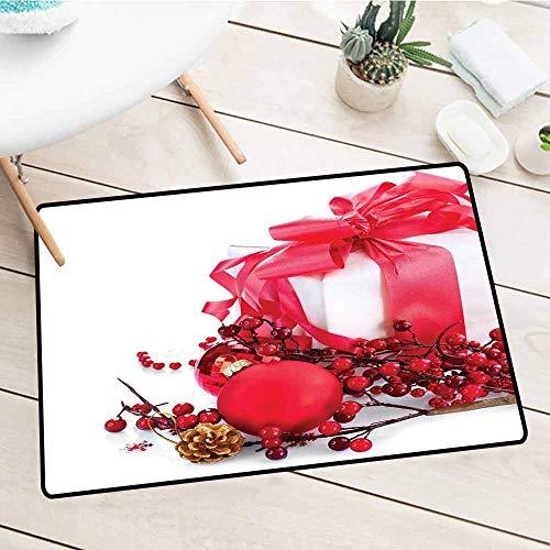 (Personalized Welcome Doormat, Christmas, New Year Box with Berries Pine Cone and Baubles End of the Year Party Theme, Red Gold White, 24