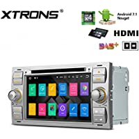 XTRONS HDMI Android 7.1 Quad Core 7 Inch HD Digital Touch Screen Car Stereo Radio DVD Player GPS for Ford (Silver)
