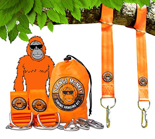Tree Swing Hanging Kit | (Set Of 2) 5' Tree Swing Straps Connect To Any Swing |2 Screw Locking Carabiners | Swing 360 Degrees (Swivel) | Your Child Can Be Swinging In A Few Minutes | No Tools Required