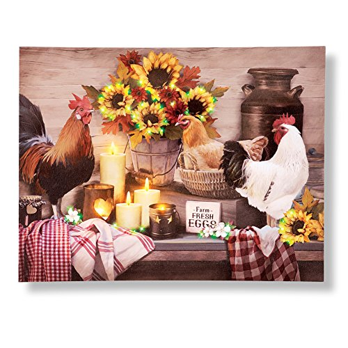 Country Rooster and Hen Farm Lighted Wall Canvas (Rooster Wall Hanging)