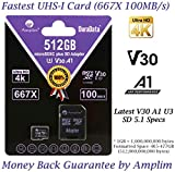 512GB Micro SD Card Plus SD Adapter Pack. Amplim 512 GB MicroSDXC Memory Card (Class 10 U3 A1 V30 100MB/s UHS-I UHS-1 TF SDXC Card) MicroSD Card for Cell Phone, Galaxy, Fire, GoPro, DJI, Camera