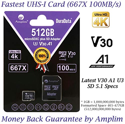 512GB 100MB/s Pro Micro SD Card Plus SD Adapter Pack. Amplim 512 GB MicroSDXC Memory Card (Class 10 U3 A1 V30 UHS-I UHS-1 TF SDXC Card) MicroSD Card for Cell Phone, Galaxy, Fire, GoPro, DJI, Camera