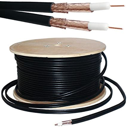 25M Twin Coaxial Shotgun Cable -Copper Foam- Satellite Dish LNB SKY HD Freesat