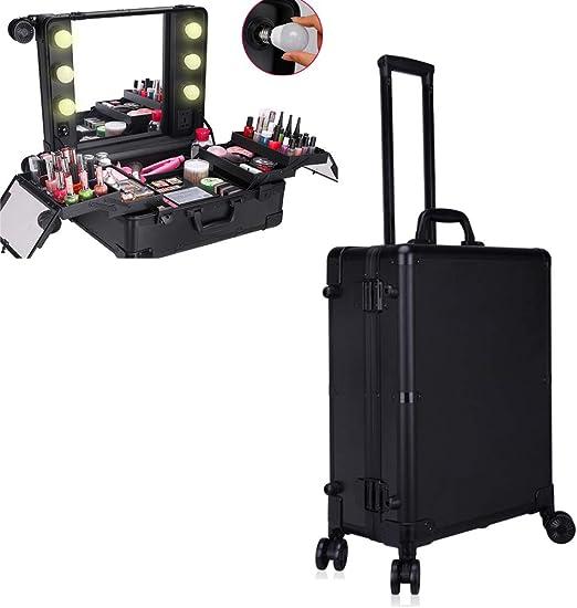 Estuche de Maquillaje Profesional Extensible LED Estación de Maquillaje portátil con Luces Caja de Carro de Maquillaje Estuche de Viaje de Belleza de Tren cosmético para Viajes,Negro: Amazon.es: Jardín