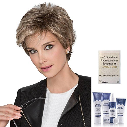 Bundle - 7 Items: Impulse Human Hair/Synthetic Blend Wig By Ellen Wille, Christy's Wigs Q & A Booklet, Beautimark Shampoo Conditioner Leave In Spray Shine Serum - Color Champagne Rooted