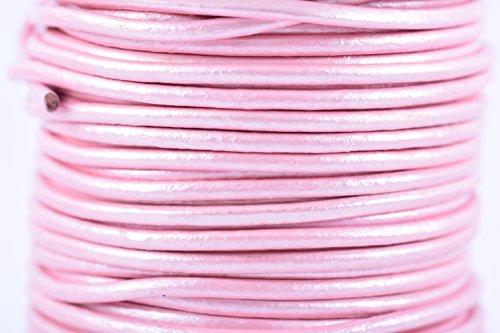 (KONMAY 25 Yards2.0mm Metallic Pink Solid Round Genuine/Real Leather Cord Braiding String (2.0MM, Metallic Pink))