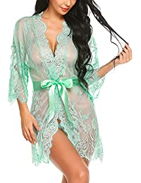 Women's Lace Kimono Robe Babydoll Lingerie Mesh Nightgown