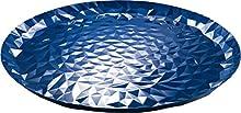 Alessi Joy N3 – Bandeja Redonda de Acero con Acabado esmaltado en Resina epoxi, Color Azul