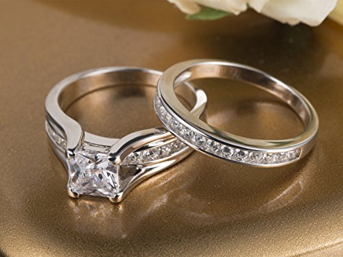 MABELLA Wedding Ring Sets Couples Rings Women's Sterling Silver Princess CZ Men's Stainless Steel Bands by MABELLA (Image #3)