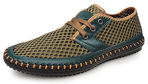 Journey Mens Water (Kunsto Men's Mesh Casual Water Shoes Lace up Walking Quick Drying Hiking SneakersUS Size 10 Green)