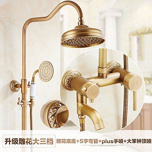 P Hlluya Professional Sink Mixer Tap Kitchen Faucet Antique-brass sprinkler head bath shower mixer thermostatic water bath shower kit,