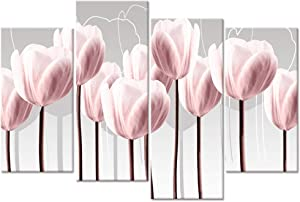 Visual Art Decor Xlarge 4 Pieces Flowers Canvas Wall Art Abstract Pink Tulips Floral Painting Prints Wall Decoration Framed and Stretched Picture Gallery Wrapped for Modern Home Living Room Office