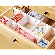 "Duroetui Adjustable Plastic Drawer Closet Grid Divider Tidy Organizer Container Home Storage (45cm X 7cm ( 18"" X 2-3/4"" ), White)"