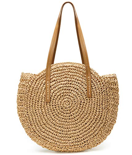 Womens Large Straw Beach Tote Bag Hobo Summer Handwoven Bags Purse with Pom Poms (B-Khaki)