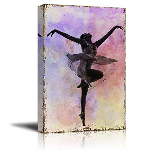 Ballerina Dancing on a Pink and Purple Watercolor Background Over Wooden Panels Nature