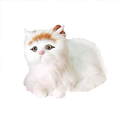 YeahiBaby Mini estatuillas de Gato de Peluche de Felpa realistas Adornos de Animales Figuras de Juguete