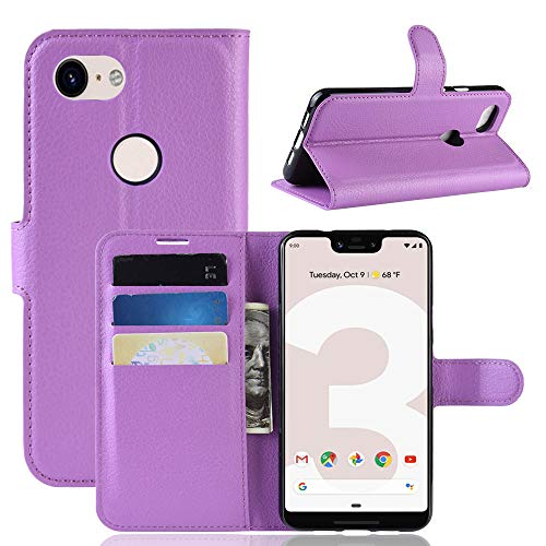 LuckQR Flip Phone Cover Google Pixel 3a XL Luxury PU Leather Wallet Case, with Credit Card & Cash Slot, Folding Kickstand, Magnetic Clasp Closure Protective Phone Case for Google Pixel 3a XL - Purple