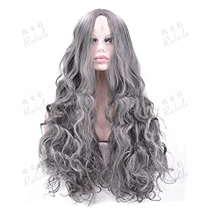 WIAGHUAS pelucas a prueba de calor femenino pelo largo y rizado cabello largo onda grande gris