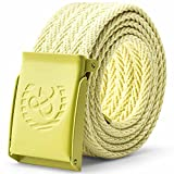 Nidicus Casual 38mm Colorful Knitted Cotton Adjustable No-Hole Jeans Web Belt Yellow 110