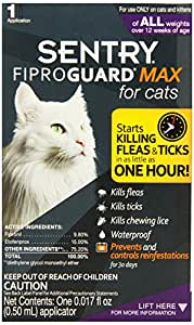 SENTRY Fiproguard Max Flea and Tick Tocial for Cats, 1.5 lbs and over, 1 count