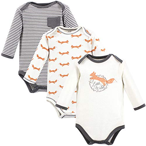 Touched by Nature Unisex Baby Organic Cotton Bodysuits, Fox Long-Sleeve 3-Pack, 18-24 Months (24M)
