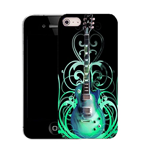 Mobile Case Mate IPhone 4 clip on Silicone Coque couverture case cover Pare-chocs + STYLET - blue guitar pattern (SILICON)