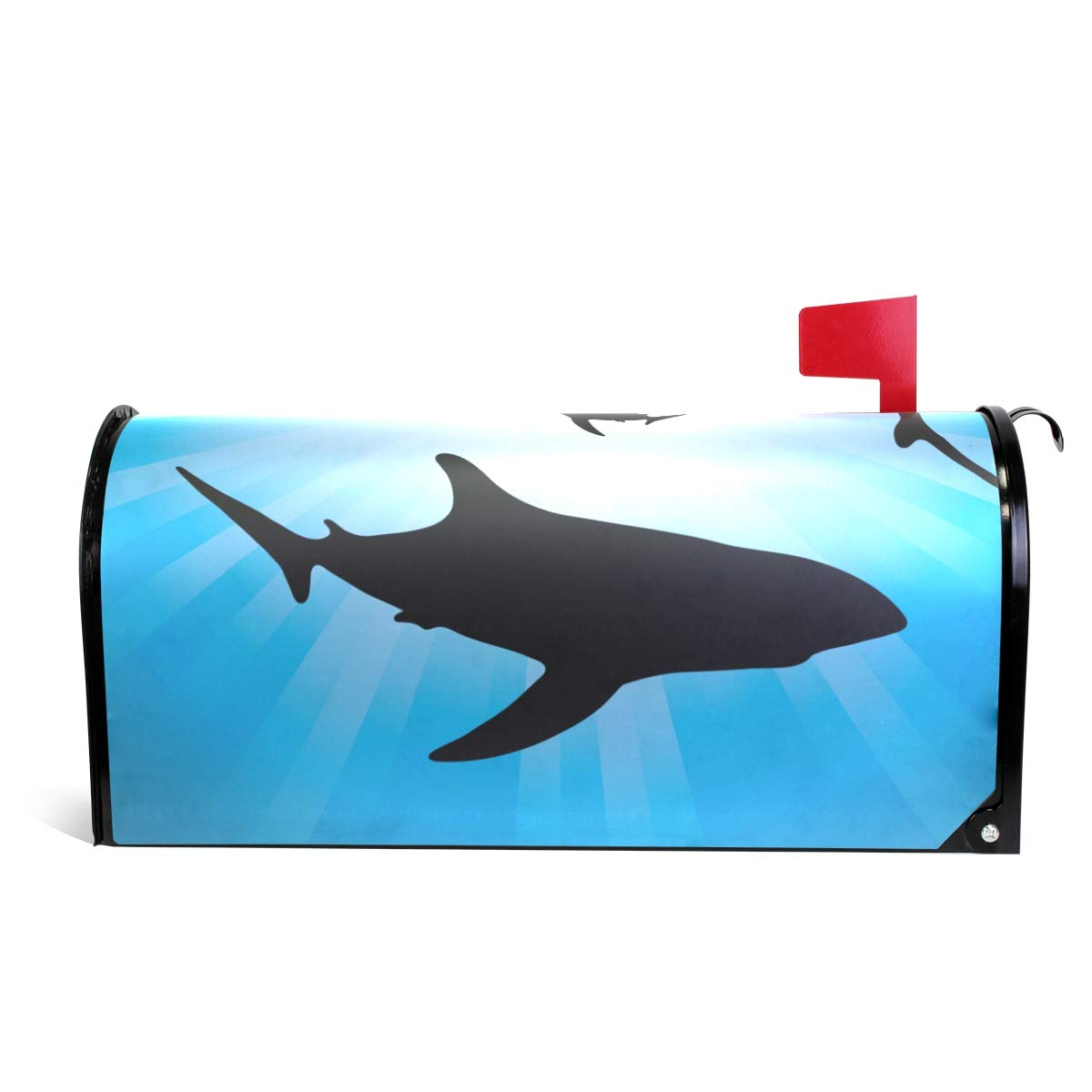 MAPOLO Vector Sharks Underwater and Sunlight Magnetic Mailbox Cover Oversized