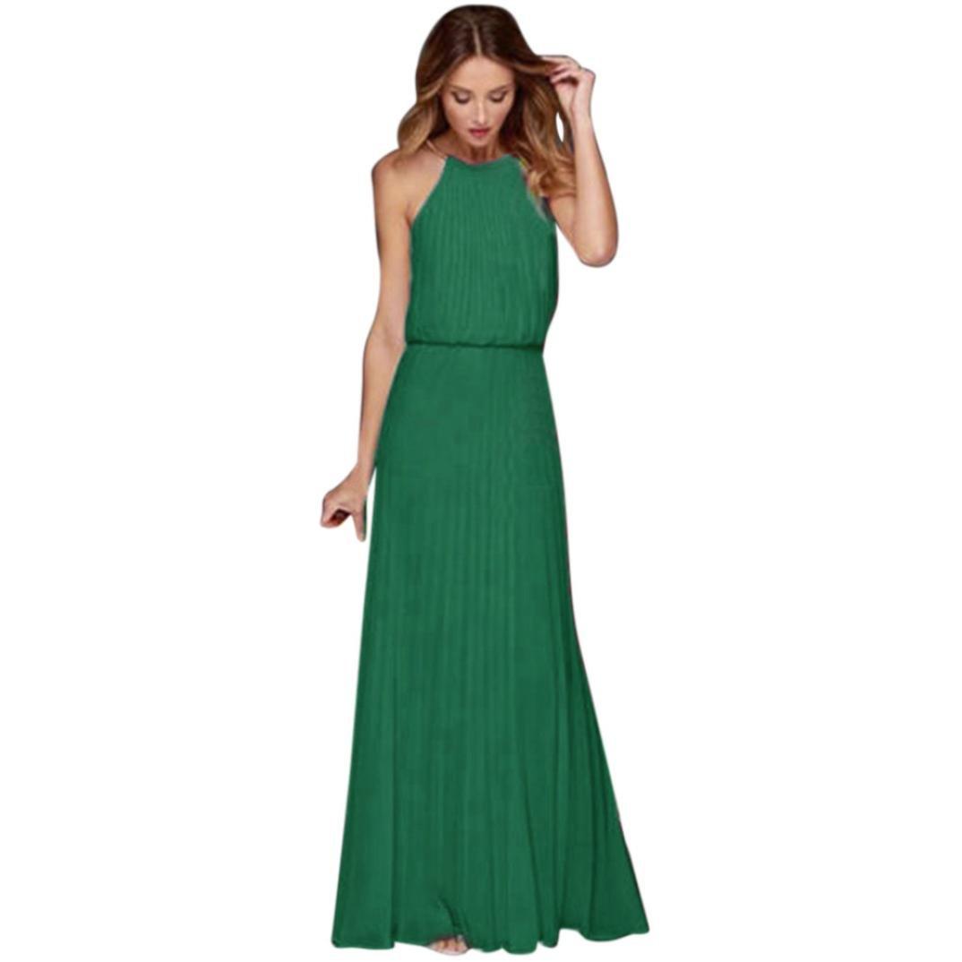 Anyren Womens Halter Formal Chiffon Loose Sleeveless Prom Evening Party Long Maxi Dress (Green, S)