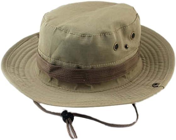 Vococal - 2 en 1 Sombrero del Cubo de Sol/Casquillo del Gorro de Vaquero con Cable de Barbilla Ajustable para Alón Pesca Escalada Adultos Unisex,Caqui