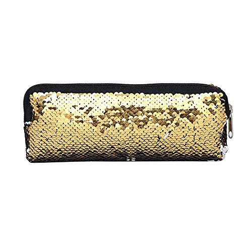 KLGDA Women's Cosmetic Bag Mermaid Sequin Purse Pouch Student Pencil Case Double Color Storage Bag (Gold, 22x8cm) ()